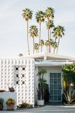 Palm trees and modern house in Palm Springs, California stock image