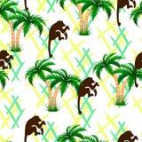 Palm trees, monkeys. Seamless illustration. Endless background vector illustration