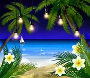Palm trees at night. Palm trees on night beach and boat background vector Stock Photo