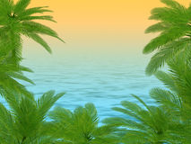 Palm trees and ocean background Royalty Free Stock Photography