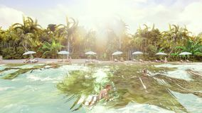Palm trees over a tropical island with an exotic white beach with bathing people on a sunny day with blue sky. Hd palm trees over a tropical island with an stock footage