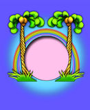 Palm trees/rainbow frame. A whimsical illustration of palm trees & a rainbow perfect as a frame Royalty Free Stock Photo