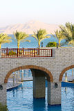 Palm trees, Red Sea, mount, bridges and p. Palm trees, Red Sea, mount, bridges and swimming pool stock photo
