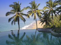 Palm trees are reflected in the pool and the ocean in a background. India Stock Photo