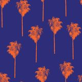 Palm trees retro-style orange on a blue background. Seamless vector pattern. vector illustration
