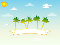 Palm trees and a ribbon in the clouds Royalty Free Stock Images