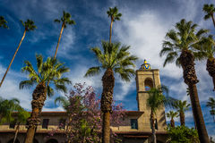 Palm trees and the Riverside Municipal Auditorium  Stock Photo