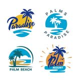 Palm trees round emblems. For travel company. Vector illustration Stock Photo