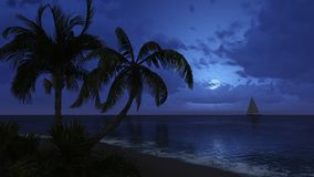 Palm trees and sailboat silhouettes on the night sky background Stock Photo