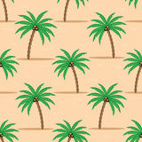 Palm trees on the sand. Seamless pattern with palm trees on the sand royalty free illustration
