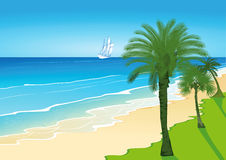 Palm Trees on a Sandy Beach with Sailing Ship Royalty Free Stock Image