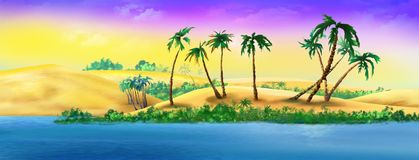 Palm Trees on a Sandy River Bank. Digital Painting Background, Illustration in cartoon style character Royalty Free Stock Photography