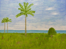 Palm trees by sea. Oil painting of green palm trees on grass by sea with blue sky and cloudscape background Royalty Free Stock Images