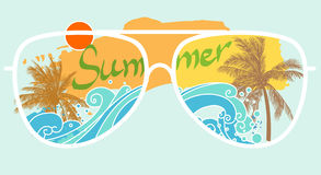 Palm trees on sea shore through glasses. Vector illustration. Summer illustration for t-shirt design and other Stock Images