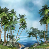 Palm trees by the sea Royalty Free Stock Photography