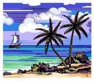 Palm trees and sea. Vector color sketch. Evening beach. Two lonely palms on the shore. Coconuts. Clouds and a sailboat horizon royalty free illustration