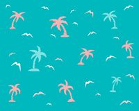 Palm trees and seagulls on a blue background royalty free illustration