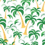 Palm trees. Seamless pattern. Vector illustration on a white background. Swatch inside. Royalty Free Stock Images