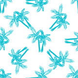 Palm trees seamless vector pattern. Royalty Free Stock Images