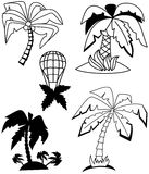 Palm trees set Stock Images