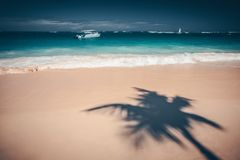 Palm trees shadow on the tropical beach Punta Cana, Dominican Re. Palm trees shadow on the tropical beach, Bavaro, Punta Cana, Dominican Republic Royalty Free Stock Images