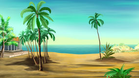 Palm trees on the shore of the Mediterranean Sea. Royalty Free Stock Photos
