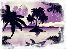 Grunge night tropic island Stock Image