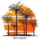 Palm trees silhouette on island. Icon. Palm trees silhouette on island. Vector illustration. Icon Stock Photos