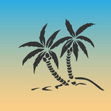 Palm trees silhouette on island. Vector illustration. Tropical exotic plant  on background. Modern hipster style apparel, Royalty Free Stock Photos