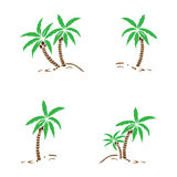 Palm trees silhouette on island. Vector illustration. Tropical exotic plant isolated on background. Modern hipster style apparel, Royalty Free Stock Images