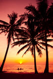 Palm trees silhouette on sunset tropical beach. Stock Photo