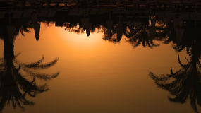 Palm Trees Silhouettes Reflection in the Water at Sunset Royalty Free Stock Photos