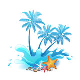 Palm trees with splash Royalty Free Stock Images