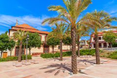 Palm trees on square of historic old town of Silves Stock Photo