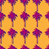 Palm trees with stereo effect seamless pattern vector illustration