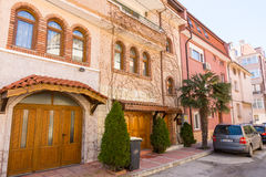 Palm trees on the street in Pomorie, Bulgaria Royalty Free Stock Photography