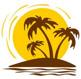 Palm trees and sun Royalty Free Stock Photography