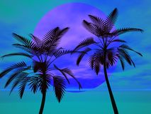 Palm trees in the sun. Tropical palm trees against the sun in blue Stock Images