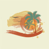 Palm trees, sun and gulls. Illustration Stock Photos