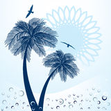 Palm Trees Sun and Seagulls. Blue palm-trees with funky sunshine bubbles and birds  - tropical concept in blue tones Stock Image