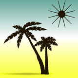 Palm trees and sun silhouette. Vector illustration Stock Photo