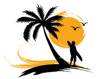 Palm trees, sun, surf Stock Photo
