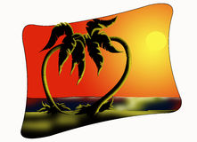 Palm trees at sunset. Color illustration of a couple of palm trees at sunset Royalty Free Stock Photo