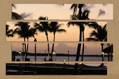 Palm trees at sunset tropical beach paradise Stock Photos