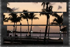 Palm trees at sunset tropical beach paradise Stock Photography