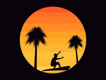 Palm trees and a surfer on a sunset background in the style of the 80s. Tropical sunrise or sunset. Vector. Illustration Royalty Free Stock Photos