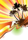 Palm trees with text area Vector. Tropical palms and waves in the summer,floral & grunge elements,vector illustration Royalty Free Stock Photos