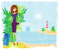 Palm trees and travel girl Stock Image