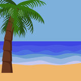 Palm trees tropical background. Palm trees tropical ocean background for text, simple vector Royalty Free Stock Images
