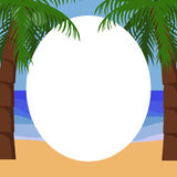 Palm trees tropical background. Palm trees tropical ocean background for text, simple vector Stock Photo